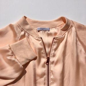 Zara Cropped Blush Pink Satin Bomber Jacket Sz S